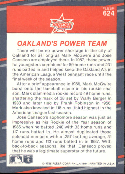 1988 Fleer #624 Mark McGwire/Jose Canseco back image