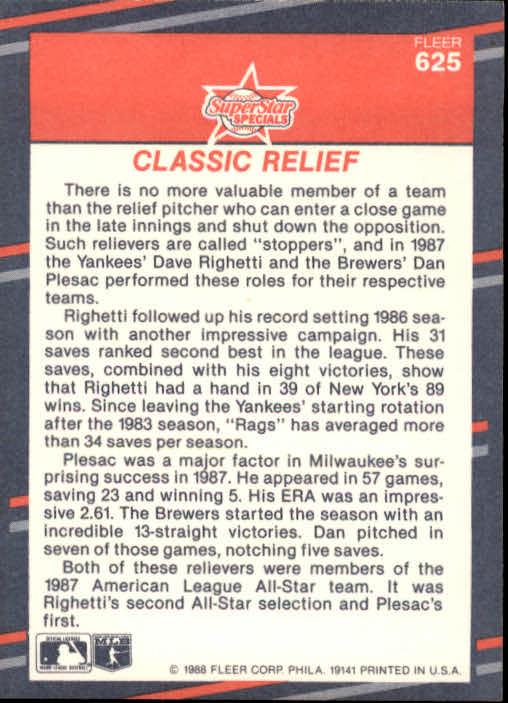1988 Fleer #625 Dave Righetti/Dan Plesac back image