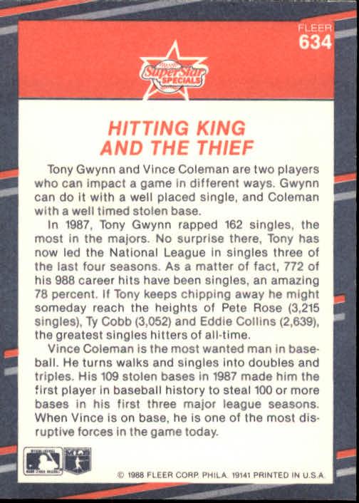 1988 Fleer #634 Tony Gwynn/Vince Coleman back image