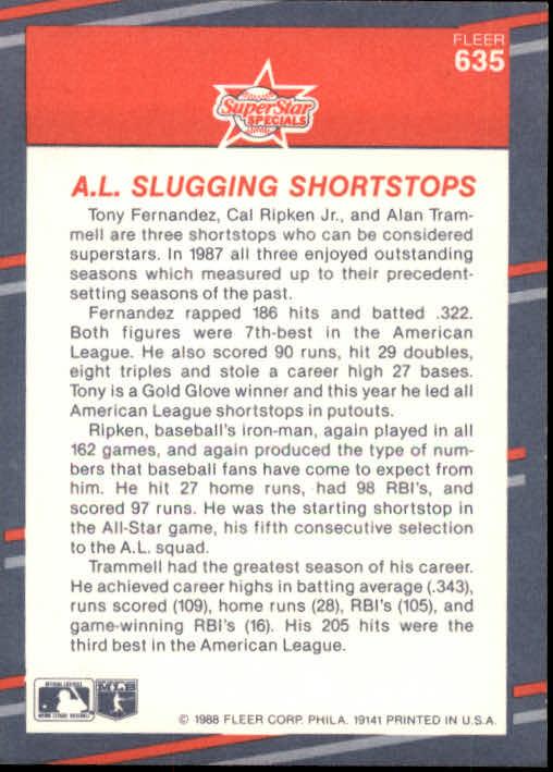 1988 Fleer #635 Tony Fernandez/Cal Ripken/Alan Trammell back image