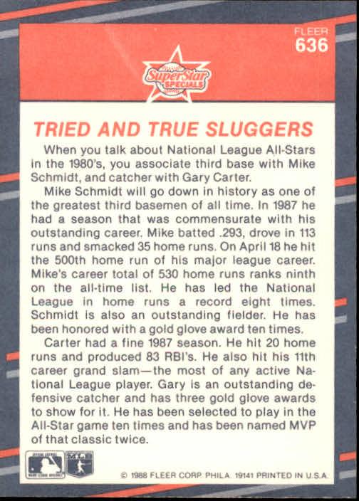 1988 Fleer #636 Mike Schmidt/Gary Carter back image