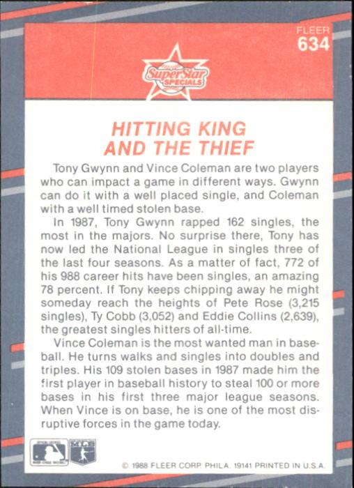 1988 Fleer Glossy #634 Tony Gwynn/V.Coleman back image