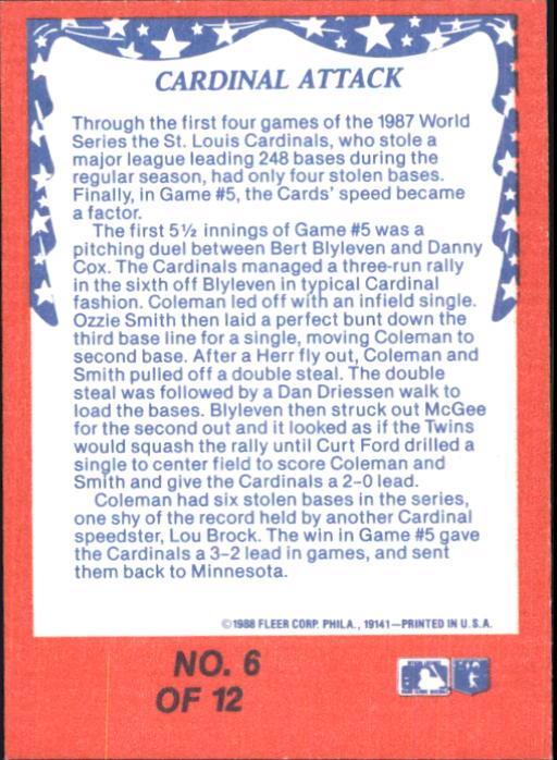 1988 Fleer Glossy #WS6 Vince Coleman back image