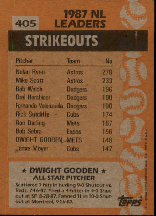 1988 Topps #405 Dwight Gooden AS back image