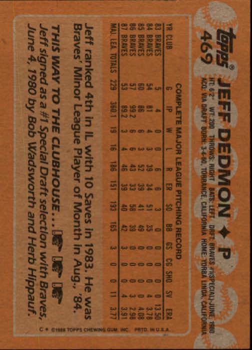 1988 Topps #469 Jeff Dedmon back image