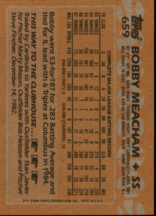 1988 Topps #659 Bobby Meacham back image