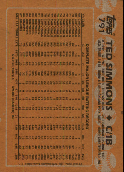 1988 Topps #791 Ted Simmons back image