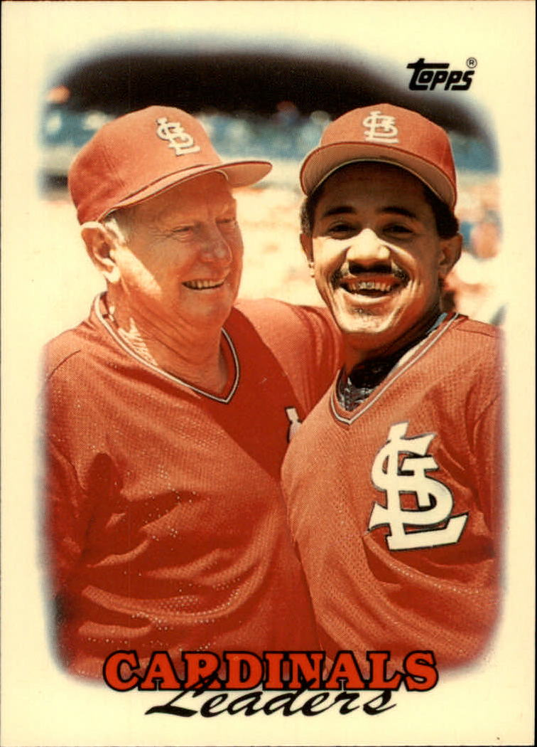 1988 Topps Tiffany #351 Cardinals TL/Red Schoendienst CO/and Tony Pena