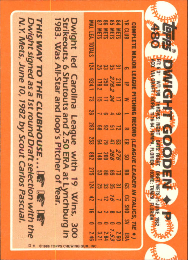 1988 Topps Tiffany #480 Dwight Gooden back image