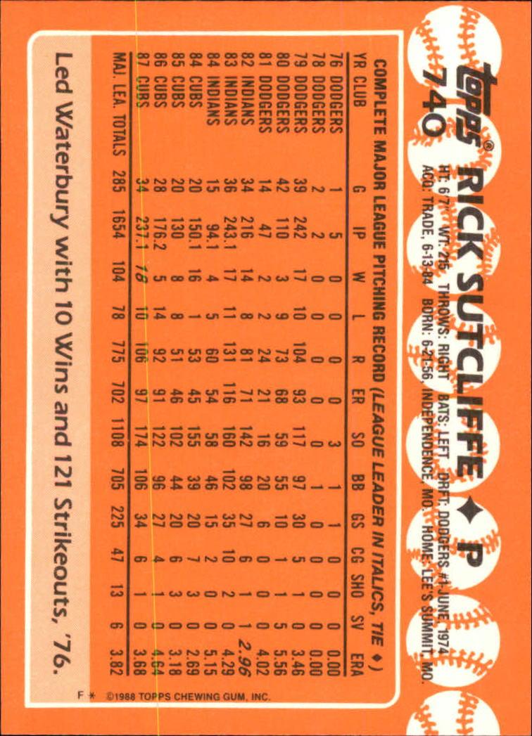 1988 Topps Tiffany #740 Rick Sutcliffe back image