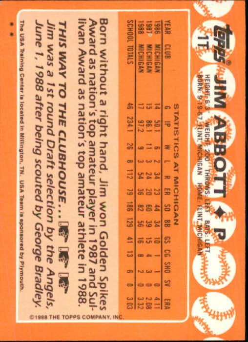 1988 Topps Traded #1T Jim Abbott OLY XRC back image