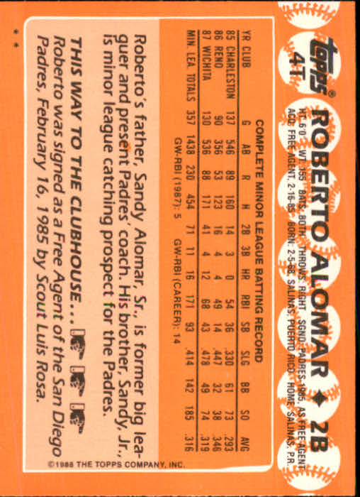 1988 Topps Traded #4T Roberto Alomar XRC back image