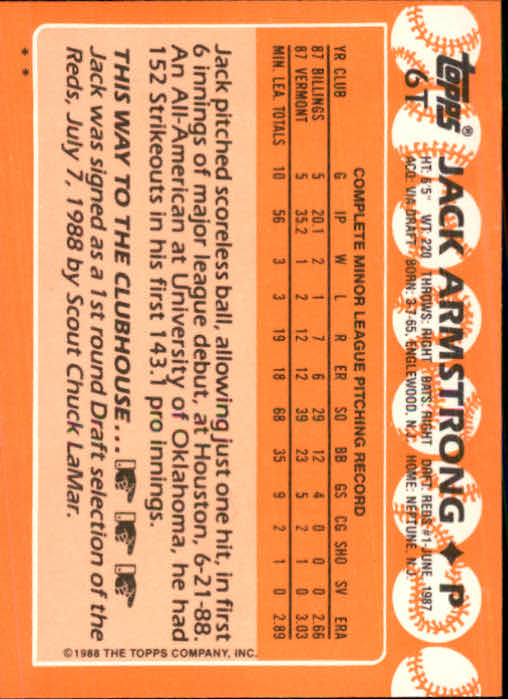 1988 Topps Traded #6T Jack Armstrong XRC back image