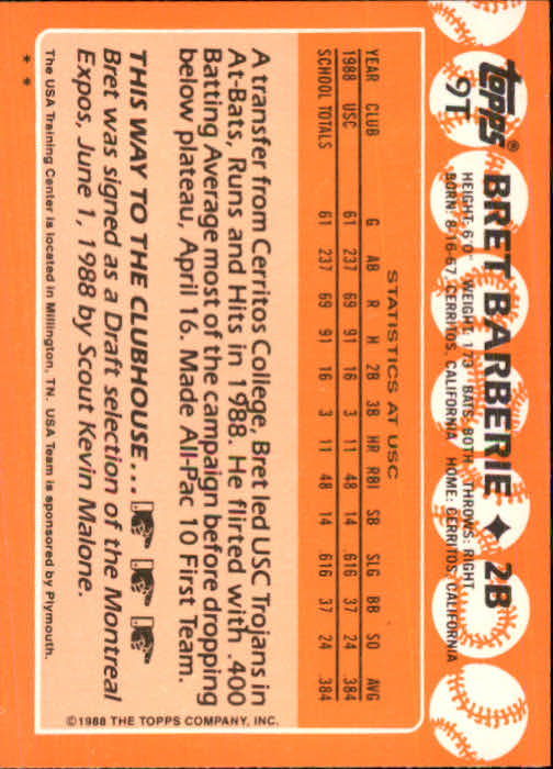 1988 Topps Traded #9T Bret Barberie OLY XRC back image