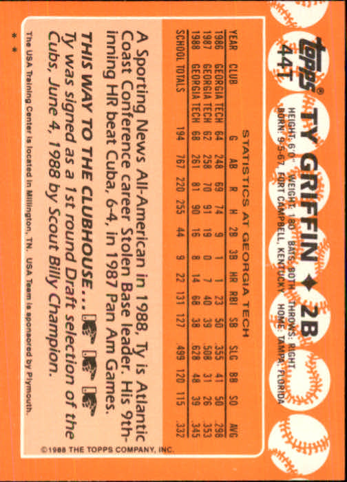 1988 Topps Traded #44T Ty Griffin OLY back image