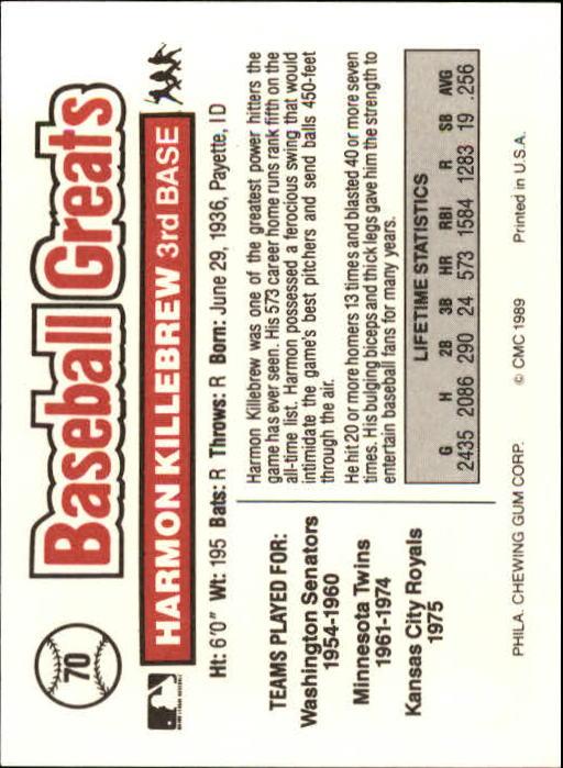 1989 Swell Baseball Greats #70 Harmon Killebrew back image