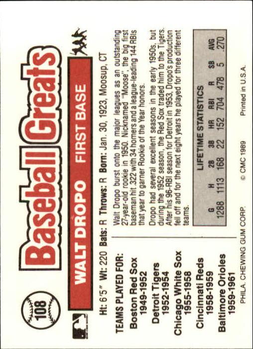 1989 Swell Baseball Greats #108 Walt Dropo back image