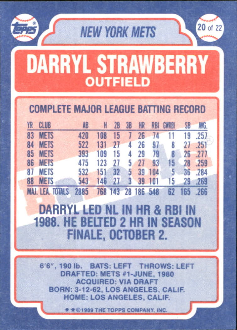 1989 Bazooka #20 Darryl Strawberry back image