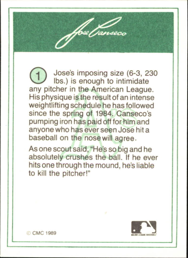 1989 CMC Canseco #1 Jose Canseco/Looking up with/yellow jersey back image