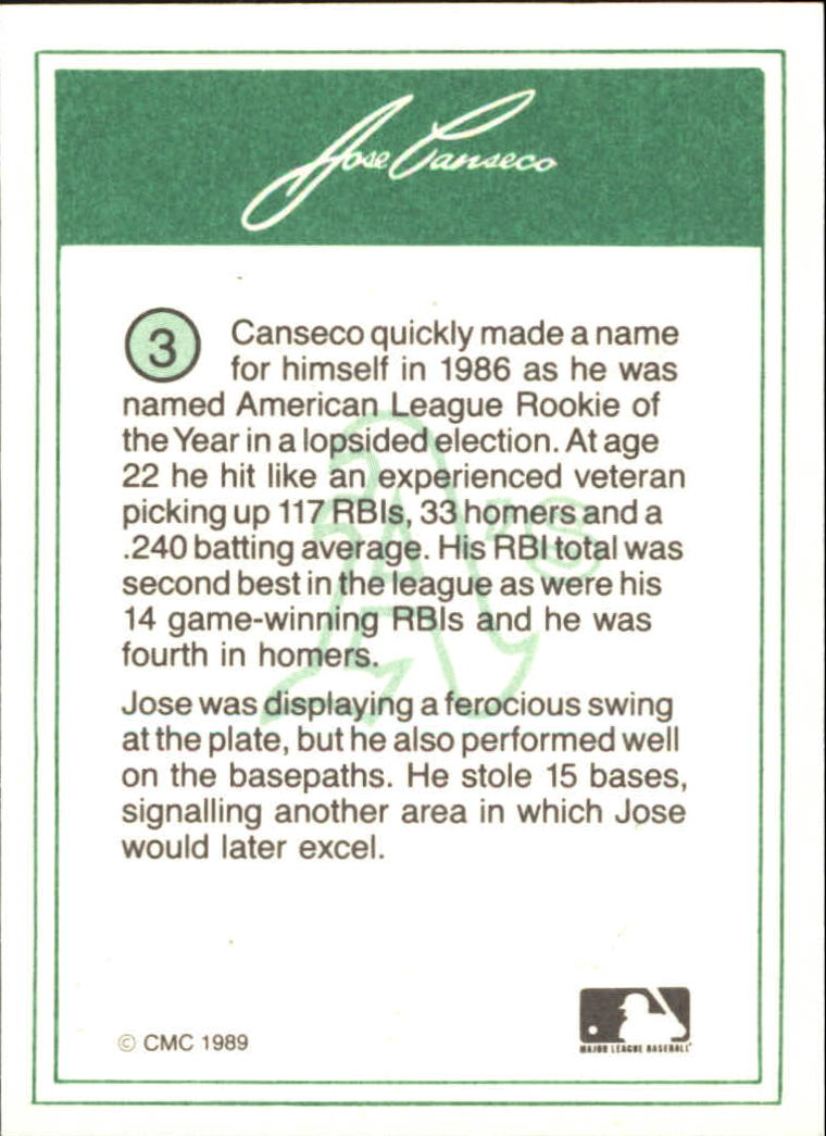 1989 CMC Canseco #3 Jose Canseco/Portrait with green cap back image