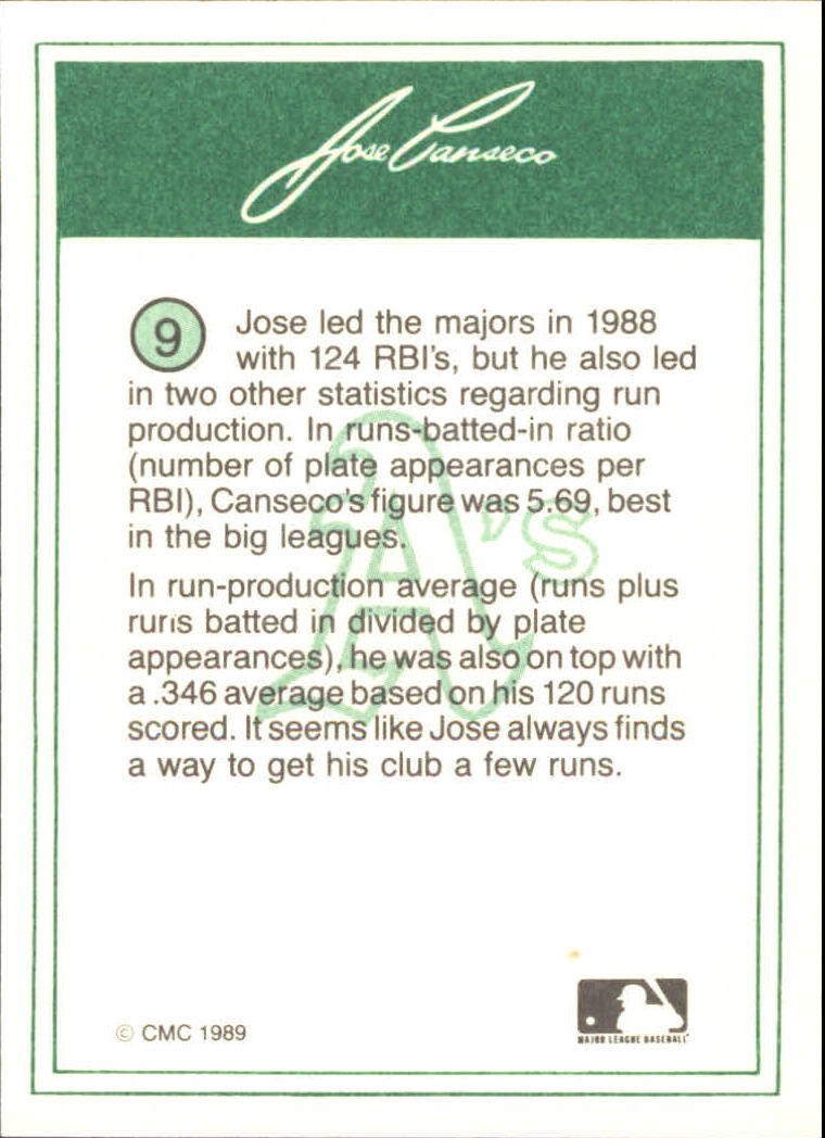 1989 CMC Canseco #9 Jose Canseco/Batting stance ready/for pitch back image