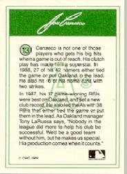 1989 CMC Canseco #13 Looking up witrh green/batting glove in/foregrou back image