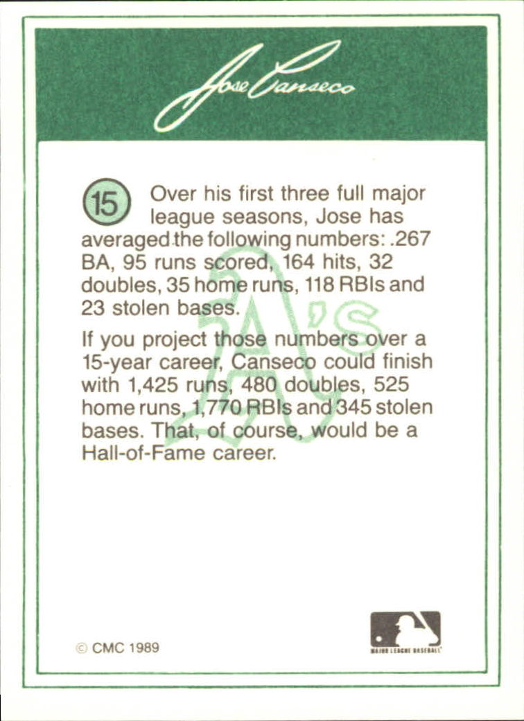 1989 CMC Canseco #15 Jose Canseco/Follow through on swing/no catcher back image