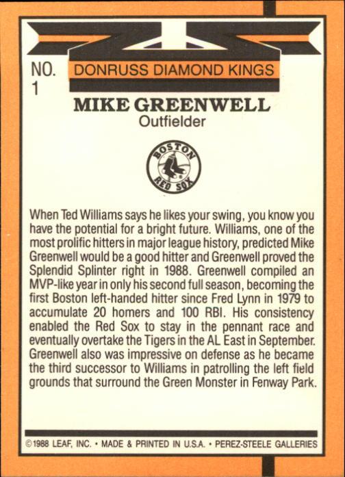 1989 Donruss #1 Mike Greenwell DK back image