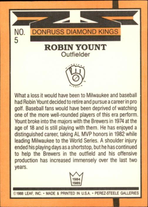 1989 Donruss #5 Robin Yount DK back image