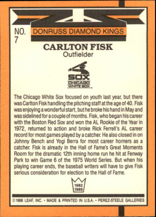 1989 Donruss #7 Carlton Fisk DK UER/OF on back back image