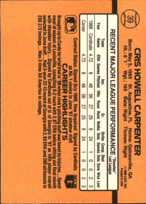1989 Donruss #39 Cris Carpenter RR RC* back image