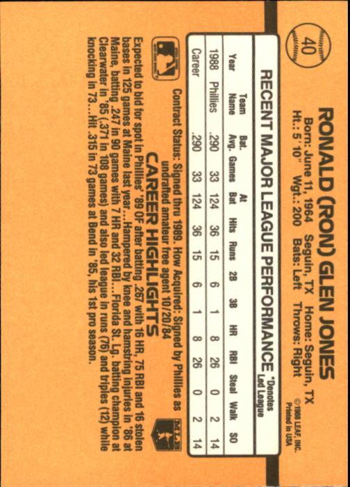 1989 Donruss #40 Ron Jones RR back image