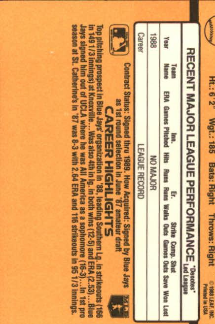 1989 Donruss #47 Alex Sanchez RC back image