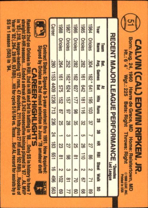 1989 Donruss #51 Cal Ripken back image