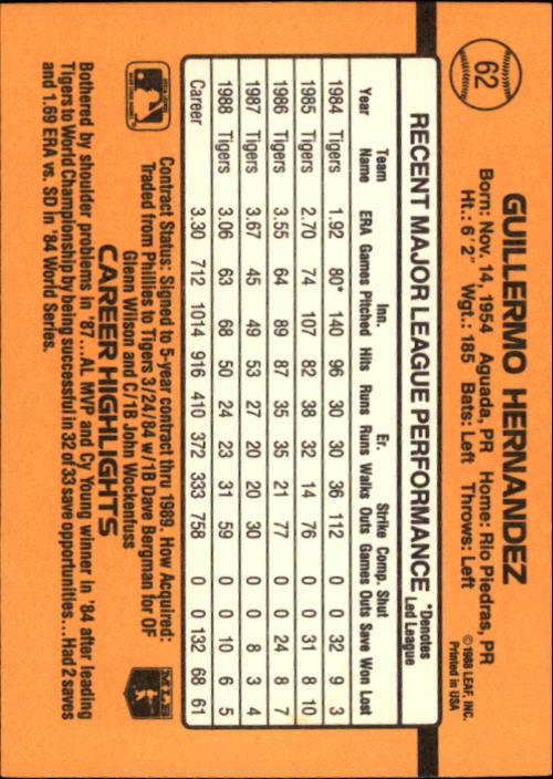 1989 Donruss #62 Guillermo Hernandez back image