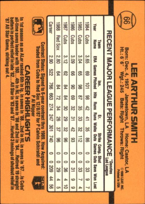 1989 Donruss #66 Lee Smith back image