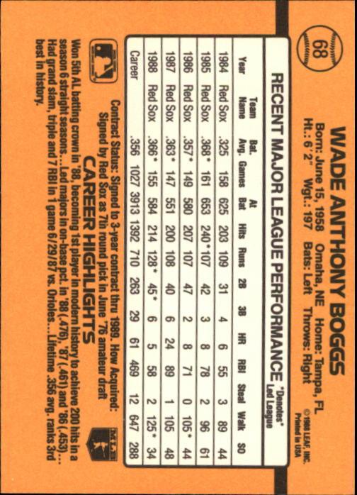 1989 Donruss #68 Wade Boggs back image