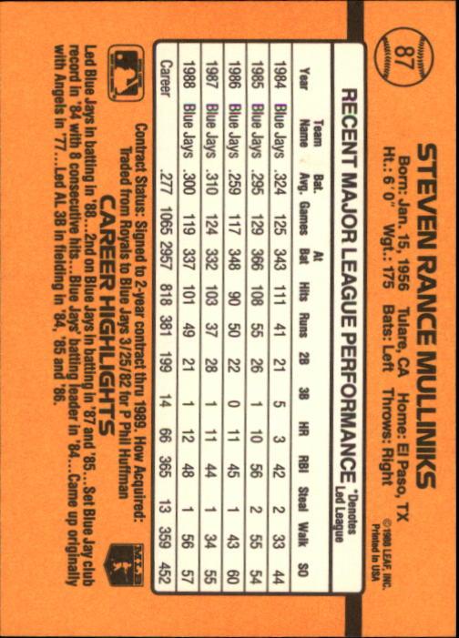 1989 Donruss #87 Rance Mulliniks back image