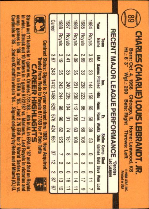 1989 Donruss #89 Charlie Leibrandt back image