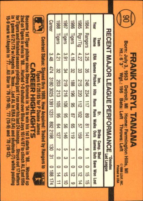 1989 Donruss #90 Frank Tanana back image