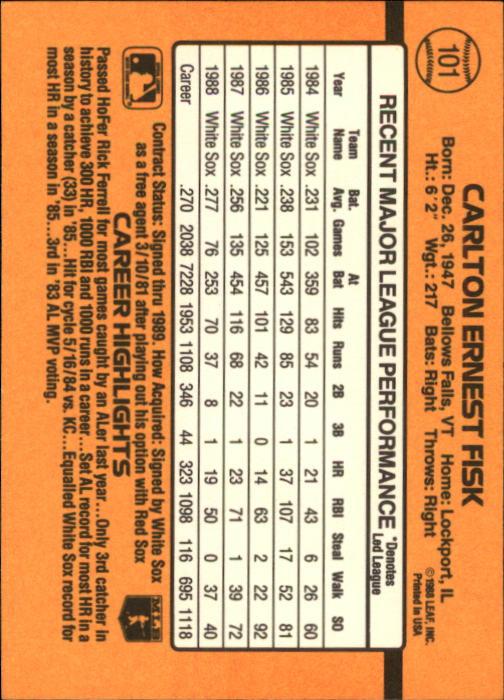 1989 Donruss #101 Carlton Fisk back image