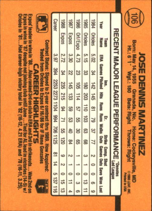 1989 Donruss #106 Dennis Martinez back image