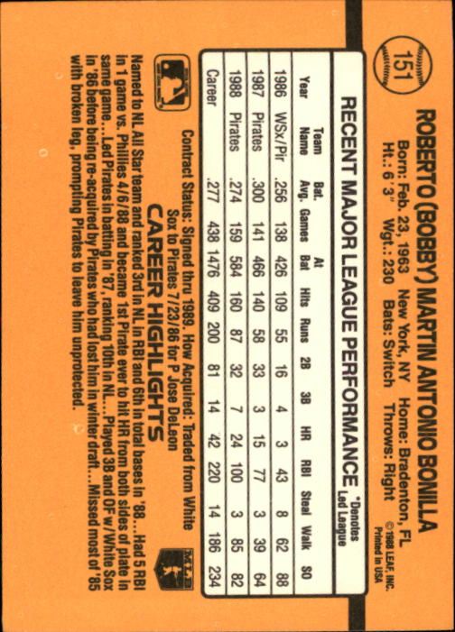 1989 Donruss #151 Bobby Bonilla back image