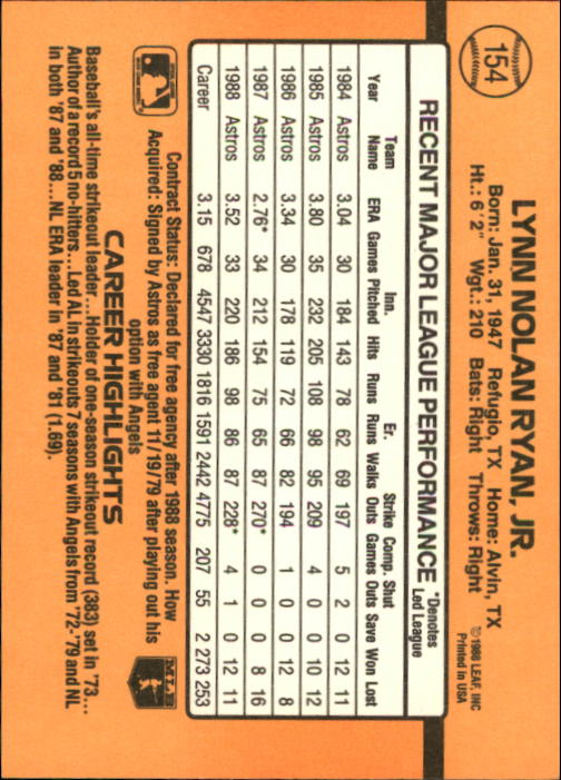 1989 Donruss #154 Nolan Ryan back image