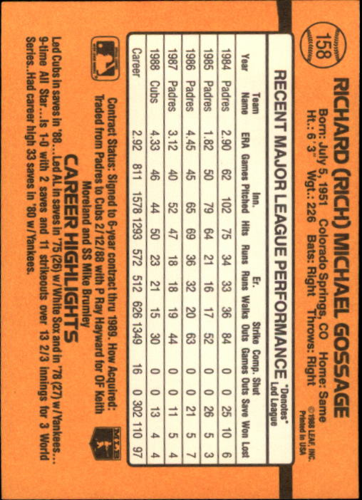 1989 Donruss #158 Rich Gossage back image
