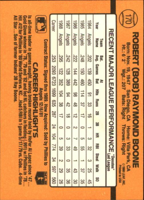 1989 Donruss #170 Bob Boone back image