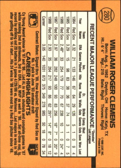 1989 Donruss #280 Roger Clemens back image