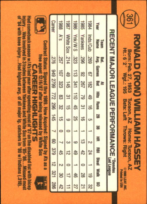 1989 Donruss #361 Ron Hassey back image