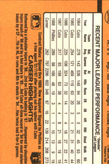 1989 Donruss #430 Bob Dernier back image
