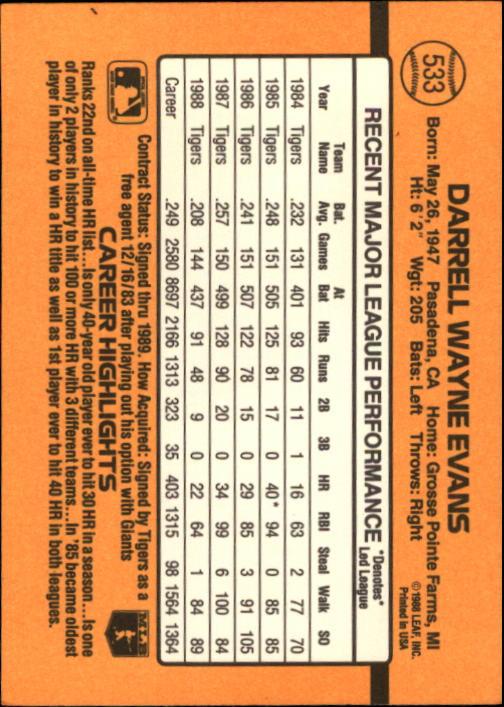 1989 Donruss #533 Darrell Evans DP back image